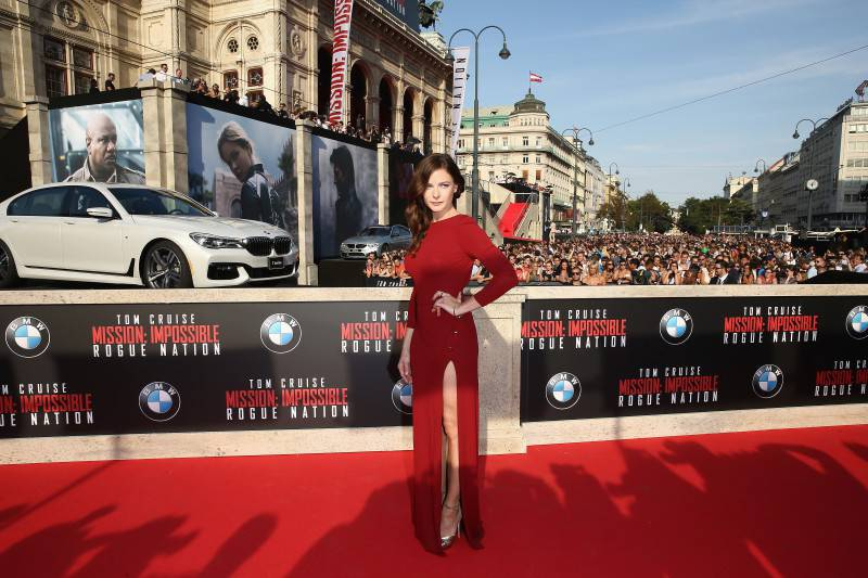 VIENNA, AUSTRIA - JULY 23:  Rebecca Ferguson attends the world premiere of 'Mission: Impossible - Rogue Nation' at the Opera House (Wiener Staatsoper) on July 23, 2015 in Vienna, Austria.  (Photo by Andreas Rentz/Getty Images for Paramount Pictures International)