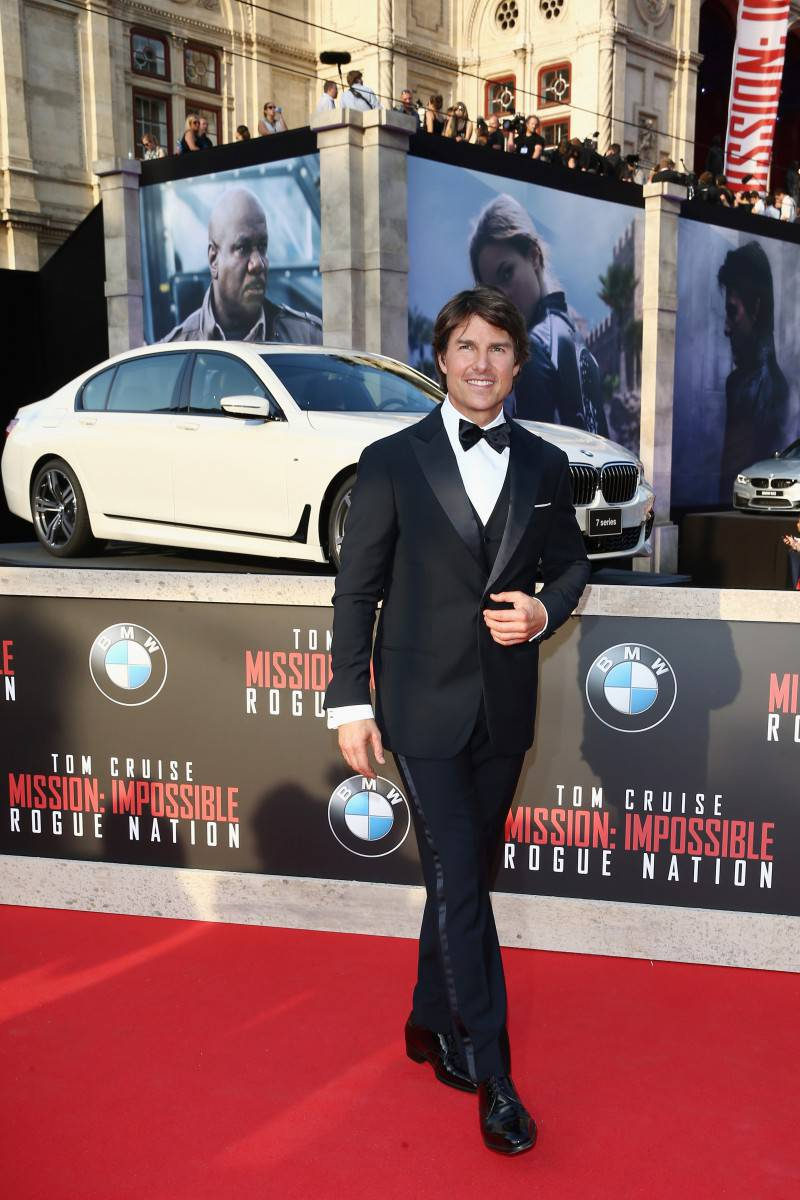 VIENNA, AUSTRIA - JULY 23:  (EDITORS NOTE: This image has been digitally manipulated) Tom Cruise attends the world premiere of 'Mission: Impossible - Rogue Nation' at the Opera House (Wiener Staatsoper) on July 23, 2015 in Vienna, Austria.  (Photo by Andreas Rentz/Getty Images for Paramount Pictures International)
