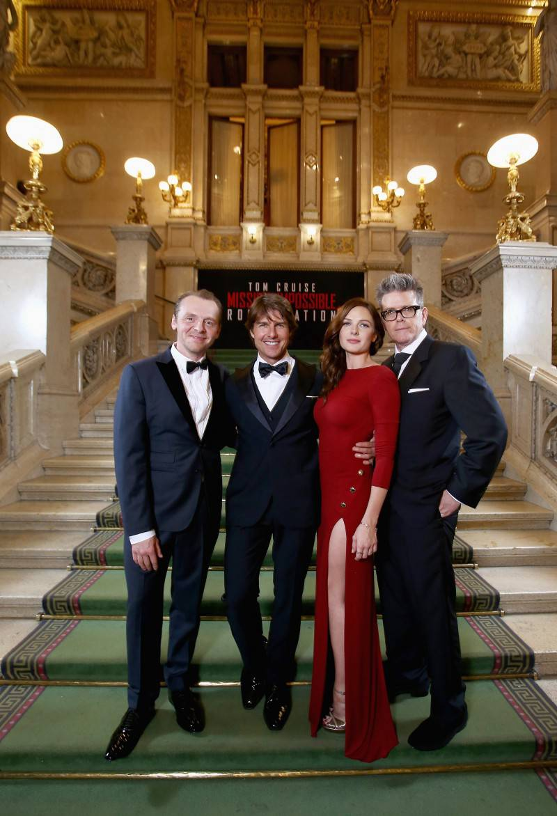 VIENNA, AUSTRIA - JULY 23:  (EDITORS NOTE: This image has been digitally manipulated) (L-R) Simon Pegg, Tom Cruise, Rebecca Ferguson and Director, Christopher McQuarrie pose during the world premiere of 'Mission: Impossible - Rogue Nation' at the Opera House (Wiener Staatsoper) on July 23, 2015 in Vienna, Austria.  (Photo by Andreas Rentz/Getty Images for Paramount Pictures International) *** Local Caption *** Simon Pegg, Tom Cruise, Rebecca Ferguson, Christopher McQuarrie