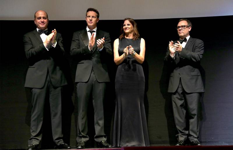 VIENNA, AUSTRIA - JULY 23:   (EDITORS NOTE: This image has been digitally manipulated) (L-R) Don Granger, David Ellison, Dana Goldberg and Bryan Burk stand on stage during the world premiere of 'Mission: Impossible - Rogue Nation' at the Opera House (Wiener Staatsoper) on July 23, 2015 in Vienna, Austria.  (Photo by Gisela Schober/Getty Images for Paramount Pictures International) *** Local Caption *** Don Granger;David Ellison;Dana Goldberg;Bryan Burk