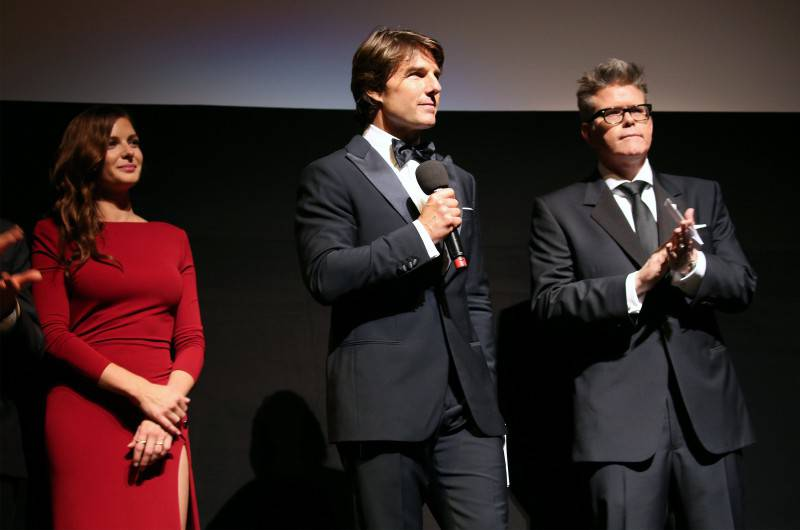 VIENNA, AUSTRIA - JULY 23:   (EDITORS NOTE: This image has been digitally manipulated) (L-R) Rebecca Ferguson, Tom Cruise and Director, Christopher McQuarrie stand on stage during the world premiere of 'Mission: Impossible - Rogue Nation' at the Opera House (Wiener Staatsoper) on July 23, 2015 in Vienna, Austria.  (Photo by Gisela Schober/Getty Images for Paramount Pictures International) *** Local Caption *** Rebecca Ferguson;Tom Cruise;Christopher McQuarrie