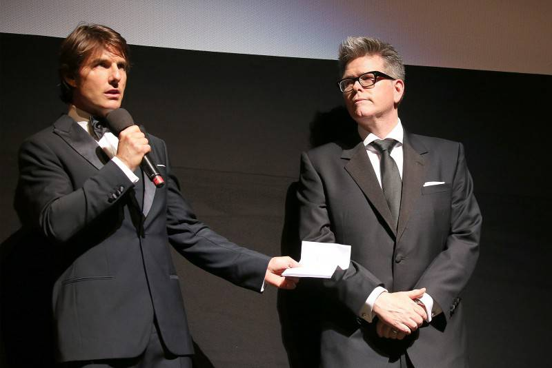 VIENNA, AUSTRIA - JULY 23:   (EDITORS NOTE: This image has been digitally manipulated) (L-R) Tom Cruise and Director, Christopher McQuarrie stand on stage during the world premiere of 'Mission: Impossible - Rogue Nation' at the Opera House (Wiener Staatsoper) on July 23, 2015 in Vienna, Austria.  (Photo by Gisela Schober/Getty Images for Paramount Pictures International) *** Local Caption *** Tom Cruise;Christopher McQuarrie