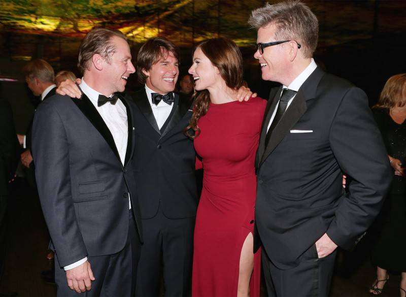 VIENNA, AUSTRIA - JULY 23: (EDITORS NOTE: This image has been digitally manipulated) (L-R) Simon Pegg, Tom Cruise, Rebecca Ferguson and Christopher McQuarrie attend the afterparty for the world premiere of 'Mission: Impossible - Rogue Nation' at Sofitel Hotel Vienna on July 23, 2015 in Vienna, Austria.  (Photo by Gisela Schober/Getty Images for Paramount Pictures International) *** Local Caption *** Simon Pegg, Tom Cruise, Rebecca Ferguson, Christopher McQuarrie