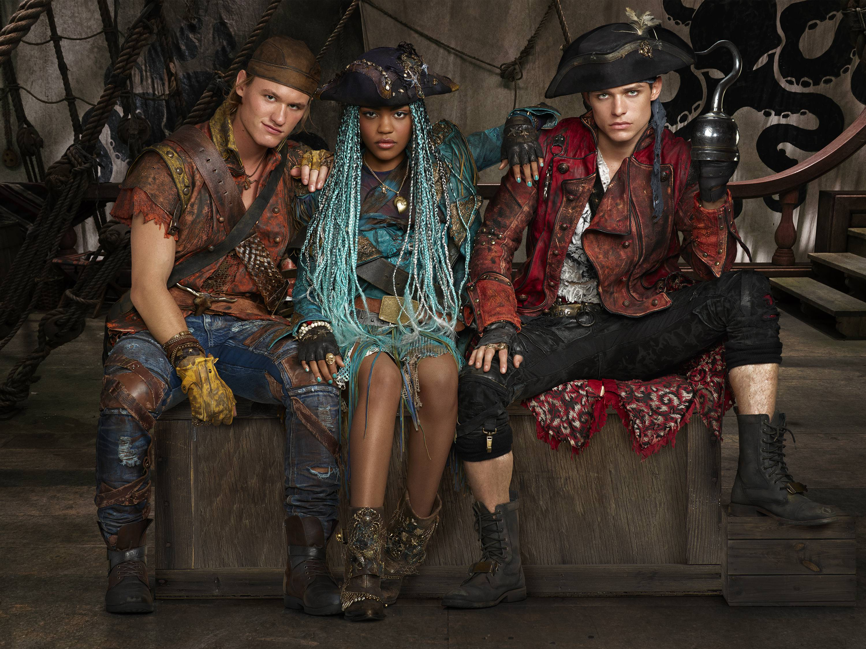 "DESCENDANTS 2 - Disney Channel's ""Descendants 2"" stars Dylan Playfair as Gil, China Anne McClain as Uma and Thomas Doherty stars as Harry. (Disney Channel/Bob D'Amico)"