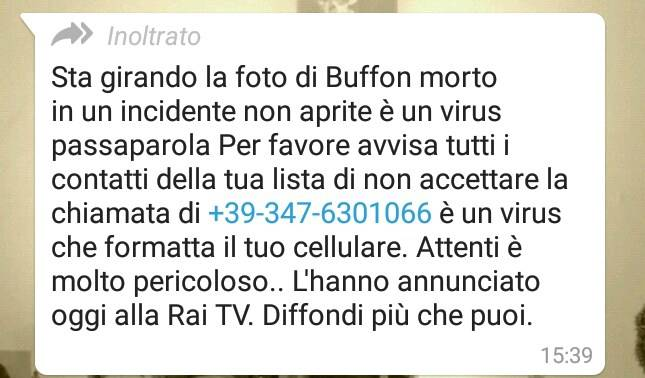 messaggio whatsapp buffon morto