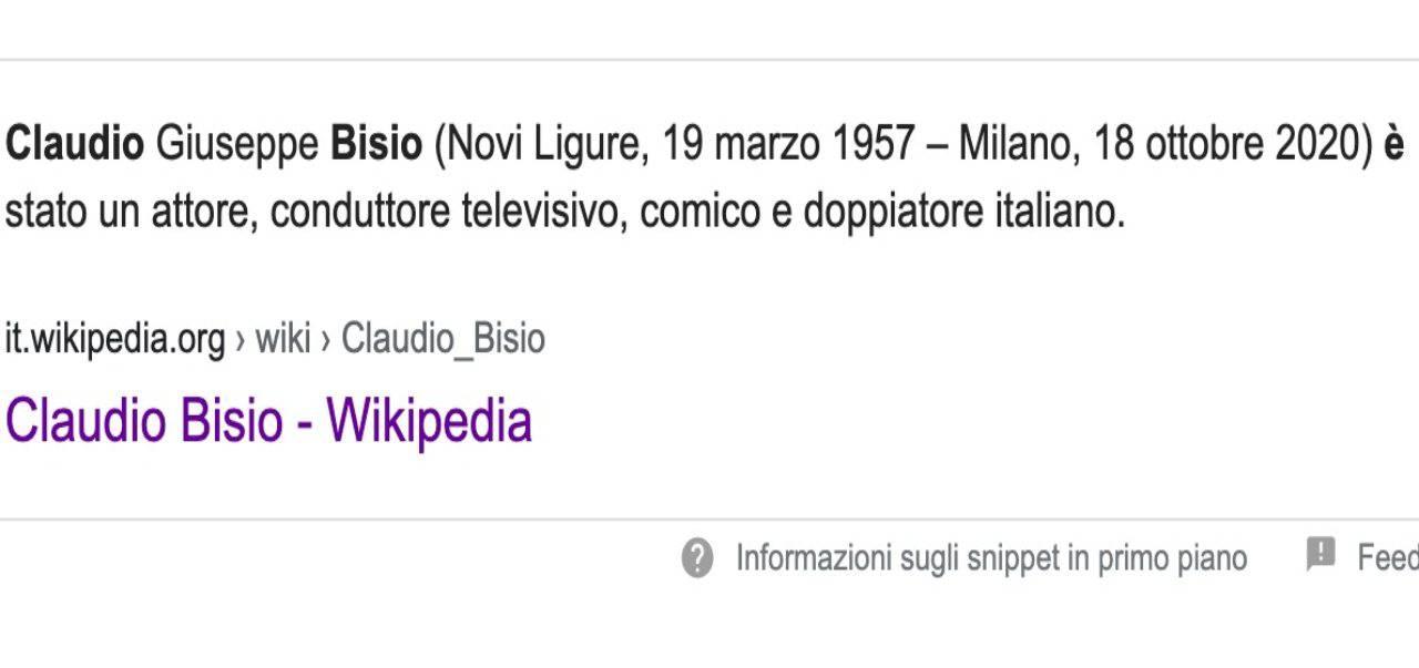 Claudio Bisio morto