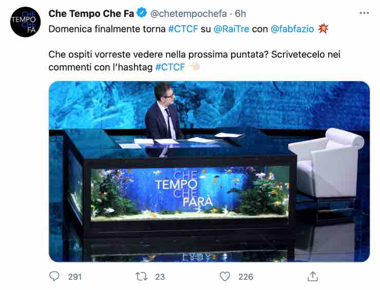 """Fabio Fazio ritorna e lancia un sondaggio: """"Finalmente..."""""""