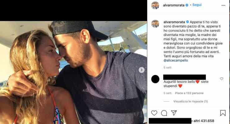 "Alvaro Morata e la sua Alice, retroscena: ""Ho snobbato quel messaggio"""