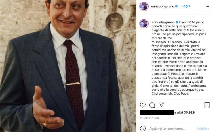 Enrico Brignano, quei rimpianti confessati dopo la morte del padre