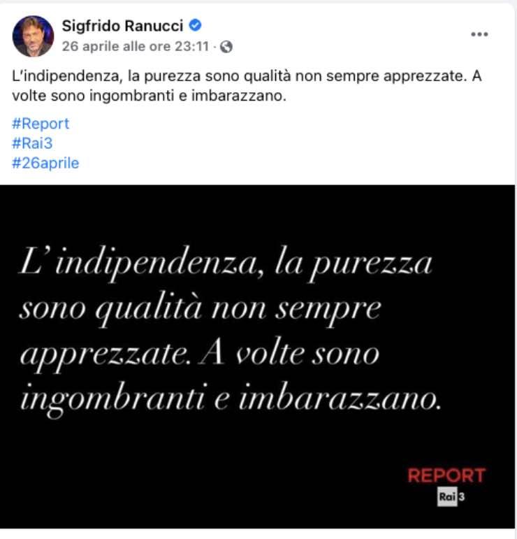 """Sigfrido Ranucci """"mi ha insegnato..."""": parole e stima per il padre"""