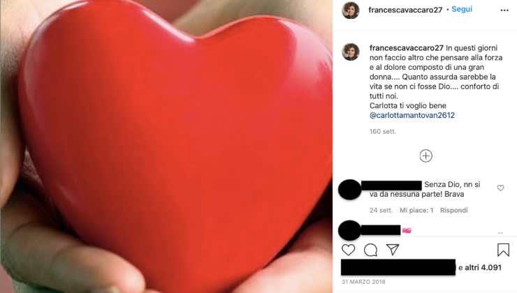 """Francesca Vaccaro """"Sei il mio pilastro"""": la dichiarazione emozionante"""
