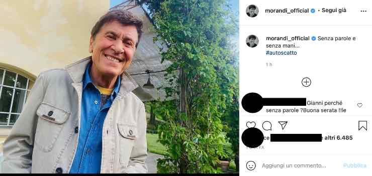 Gianni Morandi le prova tutte: l'artista stupisce i suoi fan