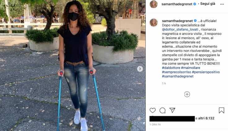 Samantha De Grenet in stampelle dopo la visita: cos'è successo